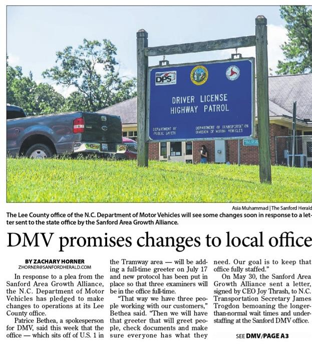 In response to a plea from the Sanford Area Growth Alliance, the N.C. Department of Motor Vehicles has pledged to make changes to operations at its Lee ...